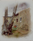 A desolated house ( Colored pencil on paper 50 x 40 cm - year: 1998 )