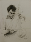 Violin-like intument ( pencil on paper 37 x 50 cm - year: 1996 )