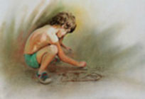 A child painting ( Colored pencil And pastel on paper 60 x 45 cm - year: 1991 )
